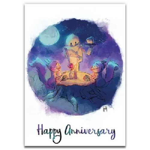 Moonlit Dinner - Eco-Friendly Anniversary Card