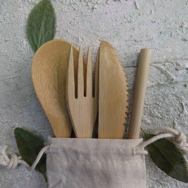 Zero Waste Cutlery Travel Set in Cotton Bag 1