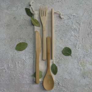 Zero Waste Cutlery Travel Set in Eco Cotton Bag