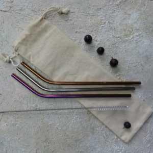 Reusable Metal Straws in Cotton Bag