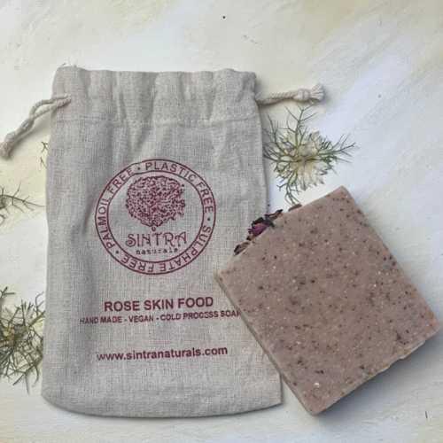 Rose Skin Food Soap in bag