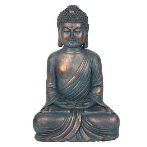 Sitting Buddha Blue and Copper 34cm
