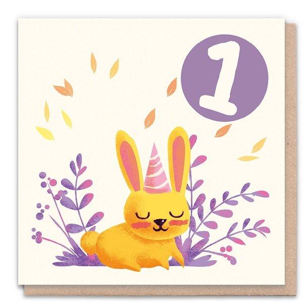 1 Year Rabbit - Eco-Friendly Birthday Card