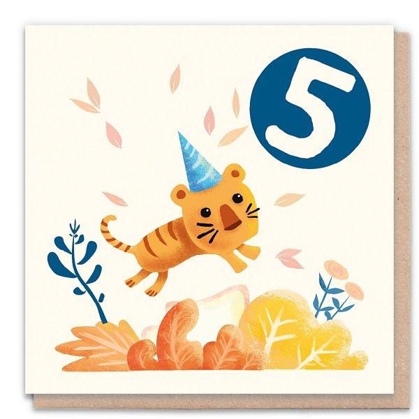 5 Year Tiger - Eco-Friendly Birthday Card