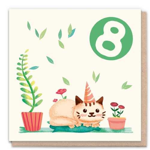 8 Year Cat - Eco-Friendly Birthday Card