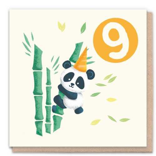 9 Year Panda - Eco-Friendly Birthday Card
